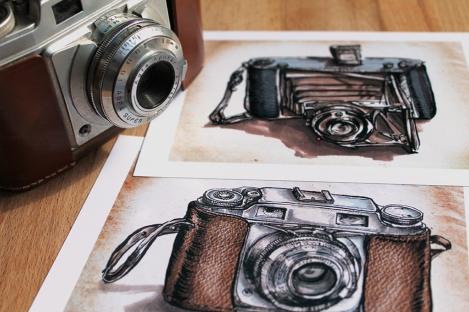 Vintage camera prints, Illustrationlaura on Etsy