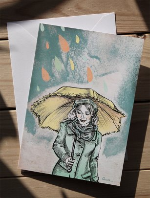 ''Rainy Day'' illustration, Ilustratorlaura on Etsy