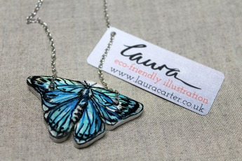 Eco-friendly wooden butterfly pendant, hand painted