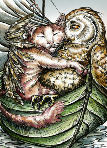 ''Owl and the Pussycat'', watercolour and ink