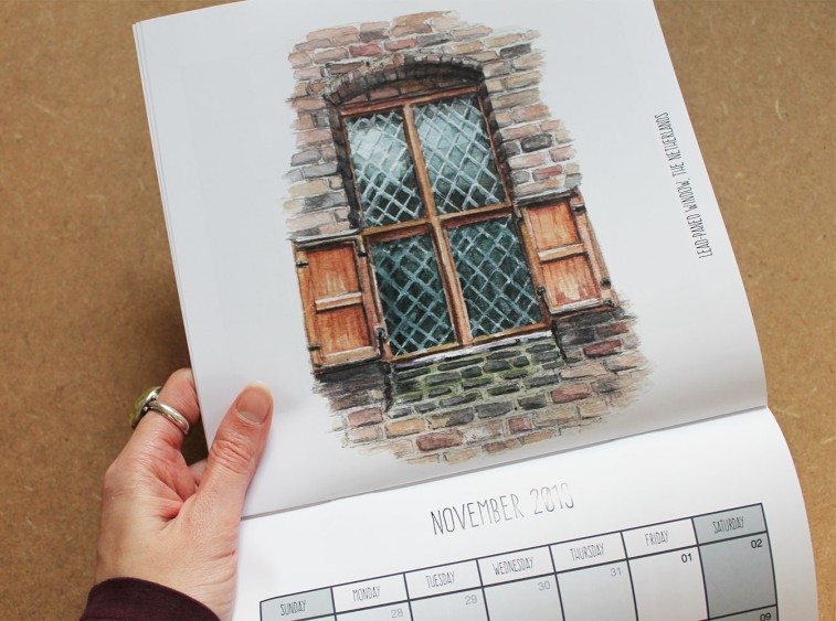 2019 calendar 'doors and windows'