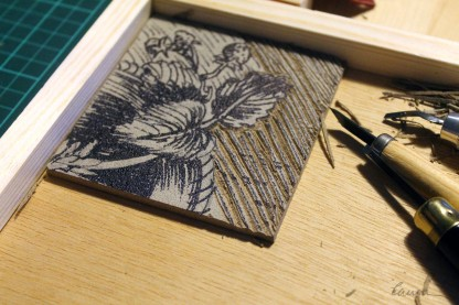 Linocutting on a homemade bench block